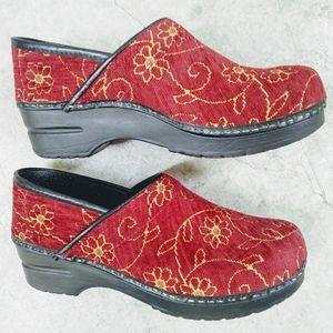 Sanita Clogs . Red Velvet . Gold Floral Stitching